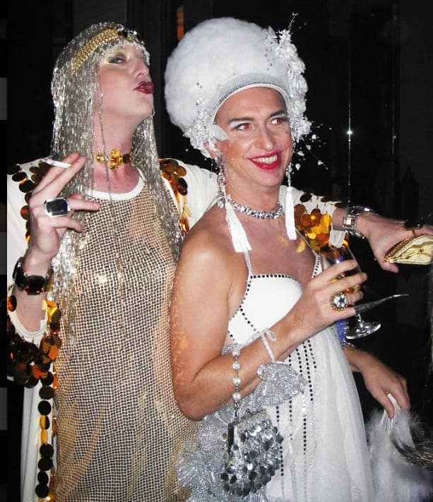 Sequin Dresses with a lot of accessories and bling