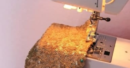 Sewing Machine with Sequin Fabric