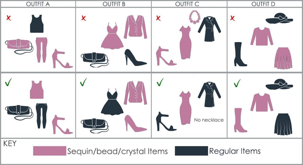 Table for how to accessorize sequin apparel
