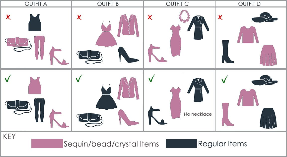 How to Wear Sequins Table for how to accessorize sequin apparel