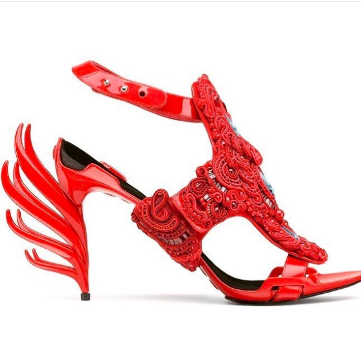 Red Open Toe High Heels Strap Sandals.