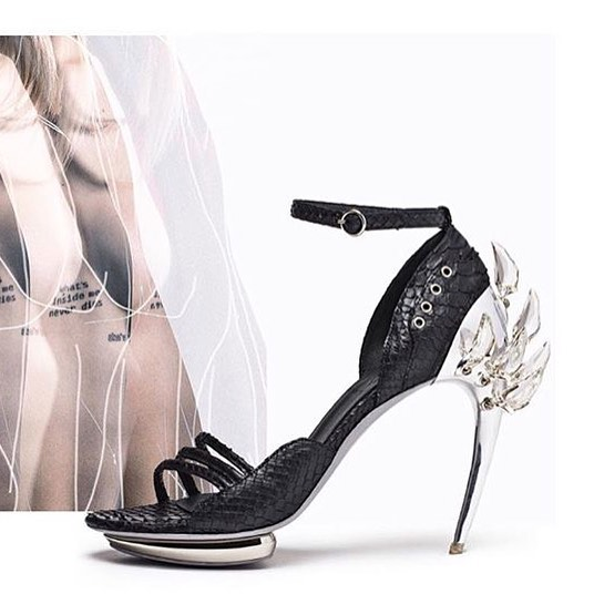 Black Strap Open Silver High Heels Sandals.