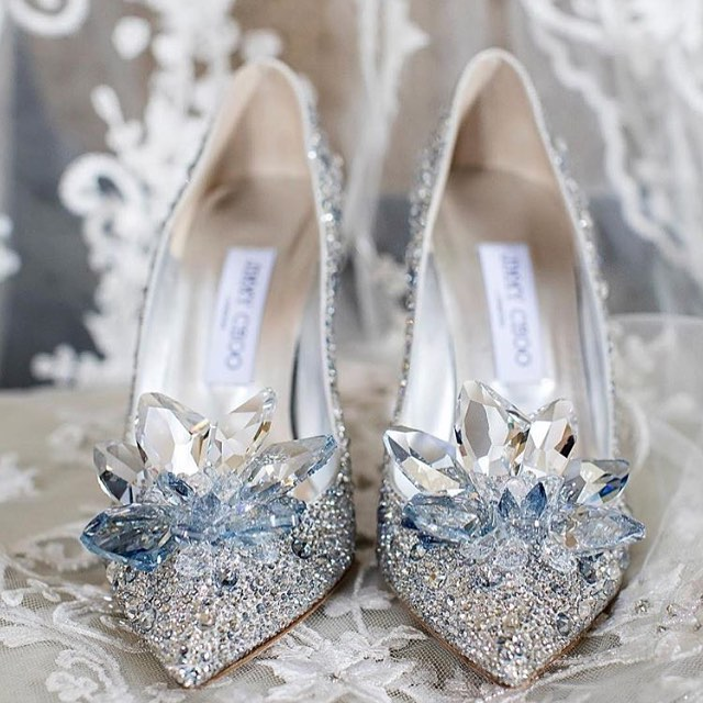 Bling Bridal Shoes with Crystal Flowers.