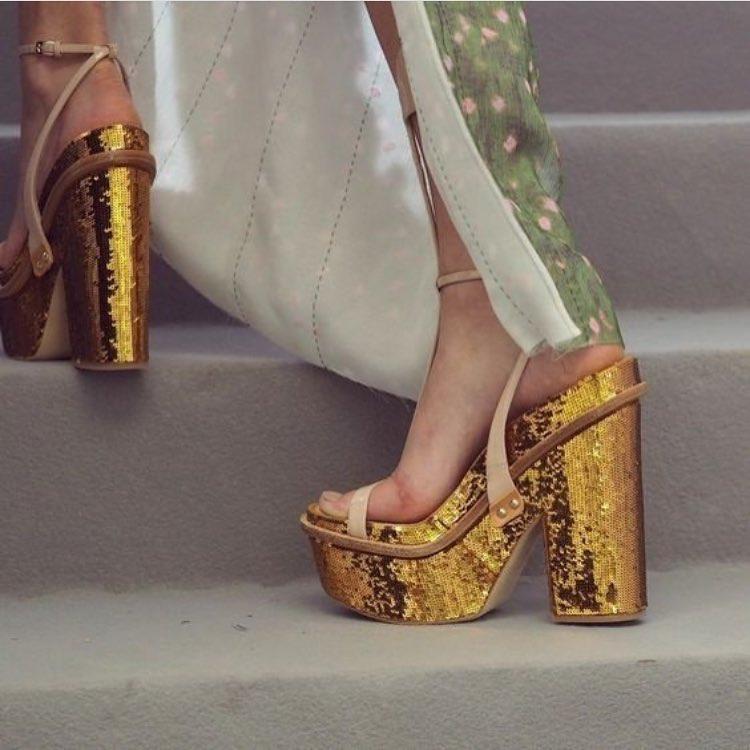 Glittering Gold Sequin High Heels Pump Sandals.