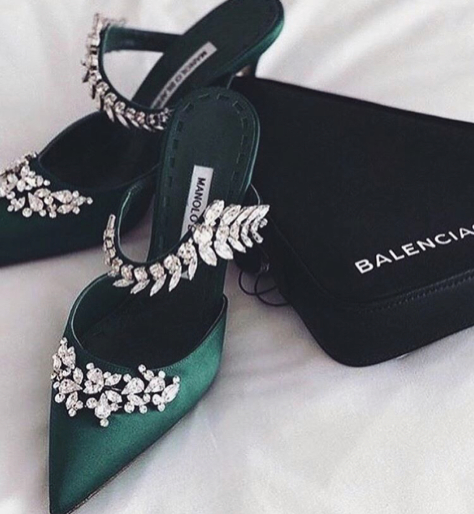 Dark Green Pointed Toe Strap Sandals With Rhinestones.