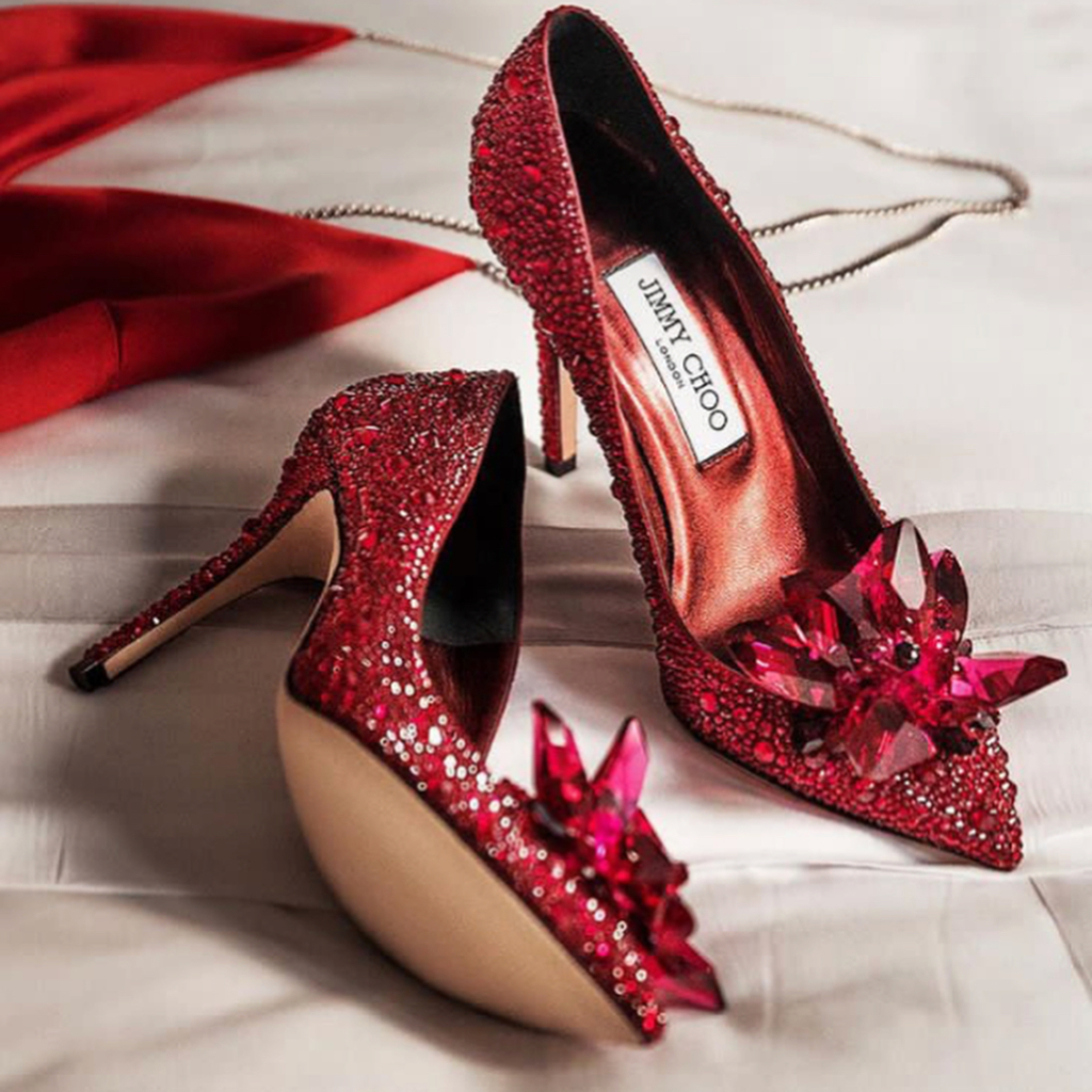 Dark Red High Heels Bling Evening Shoe with Rhinestones.