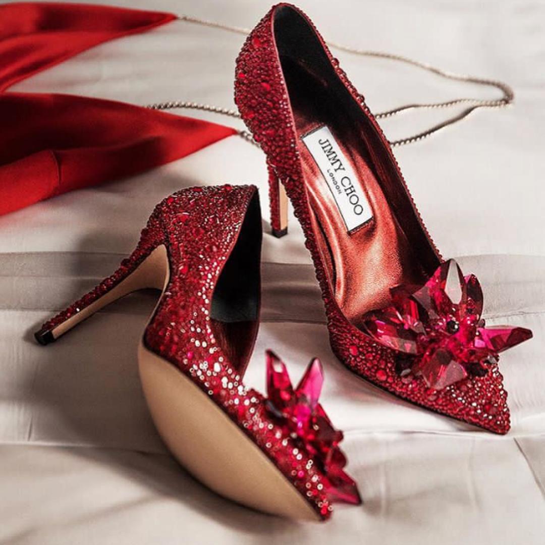 Dark Red High Heels Bling Evening Shoe with Rhinestones.