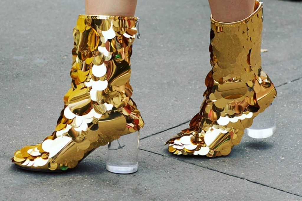 Gold Jumbo Sequins High Heel Boots.