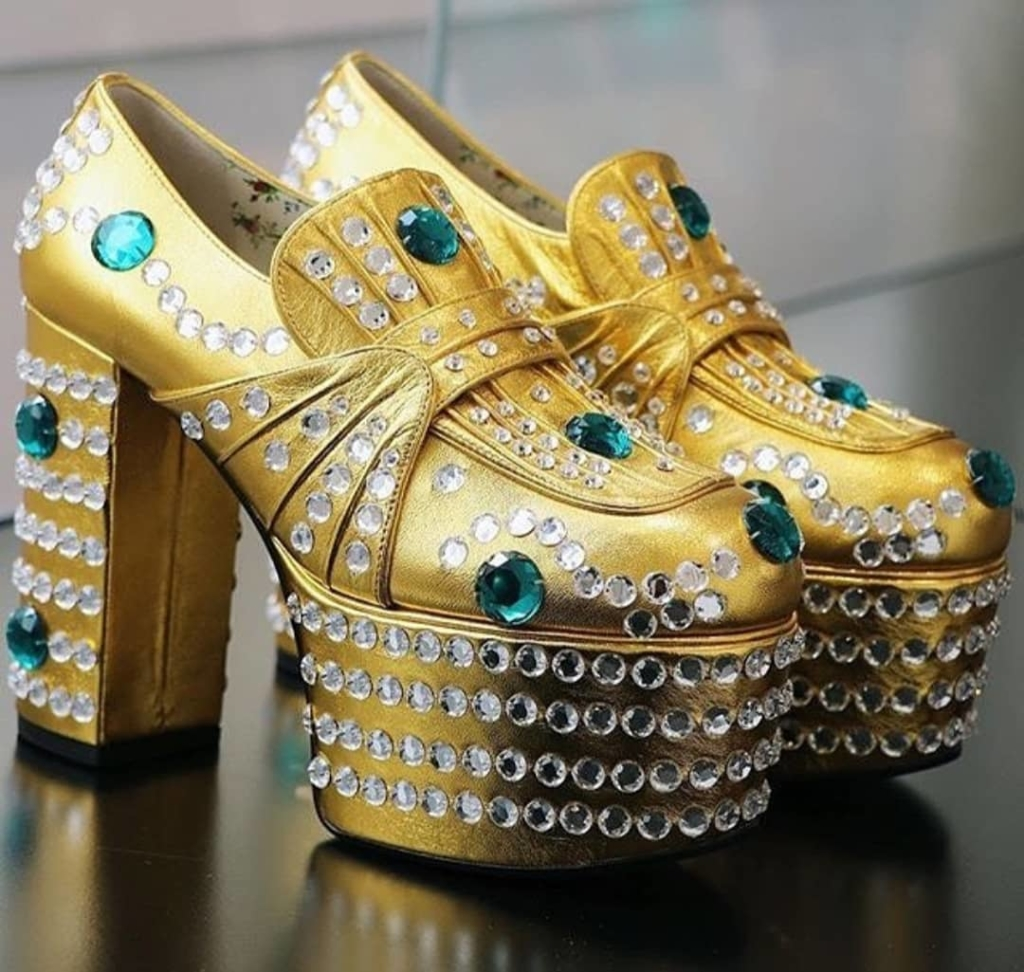 Gold Women's Platform Shoes with Green & Silver Rhinestones.