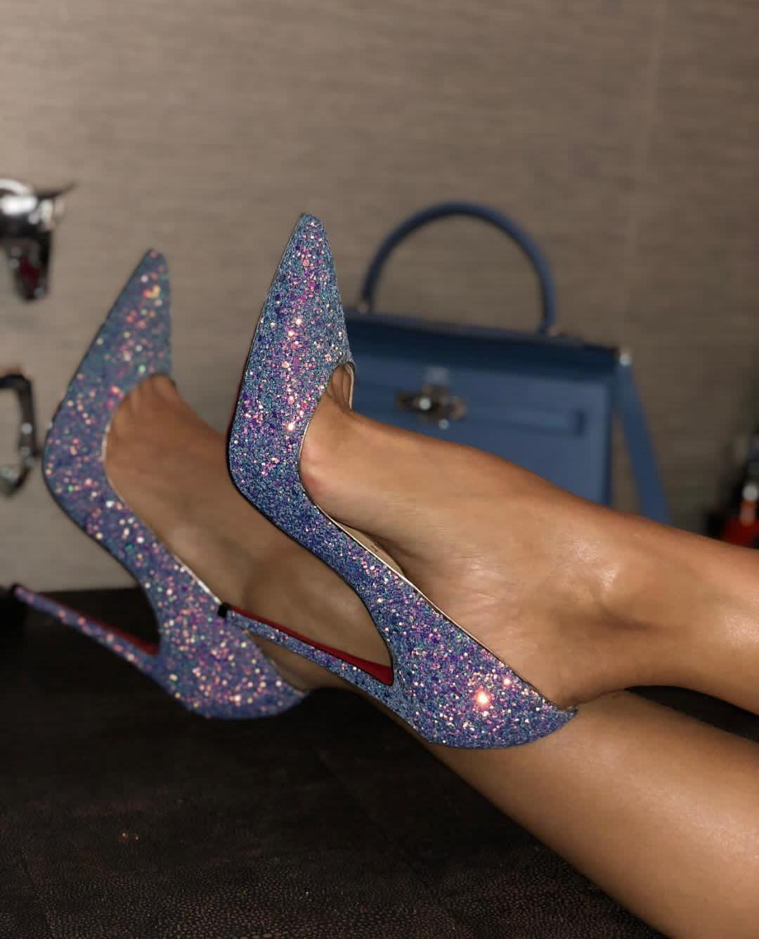 Women's Glitter Shoes in Lilac.