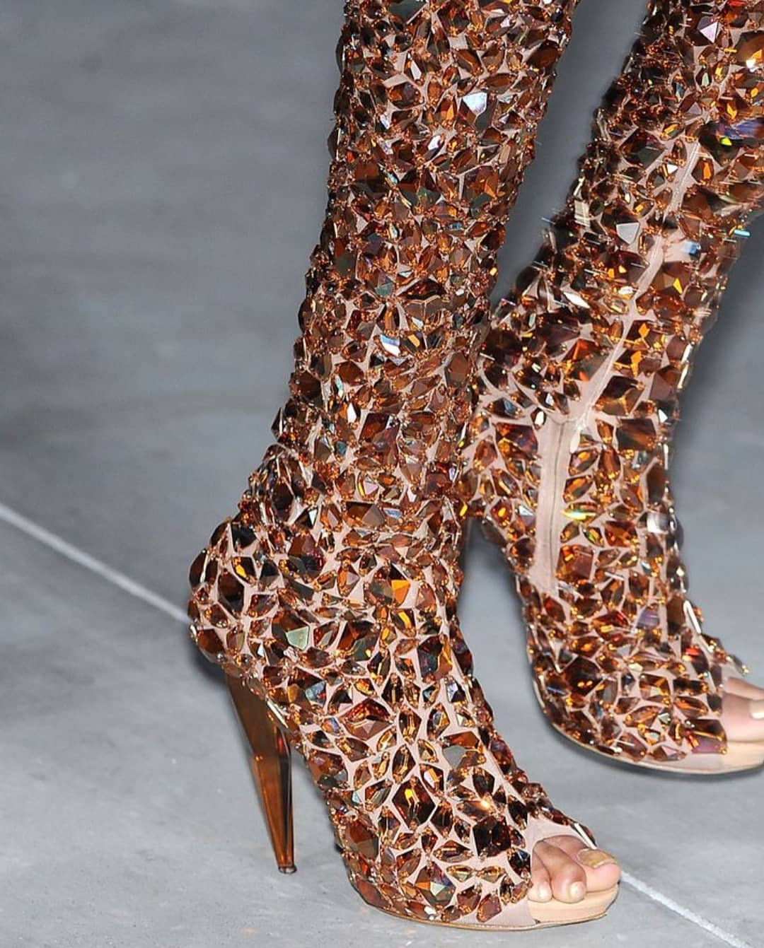 Peep Toe High Heel Bling Boots.