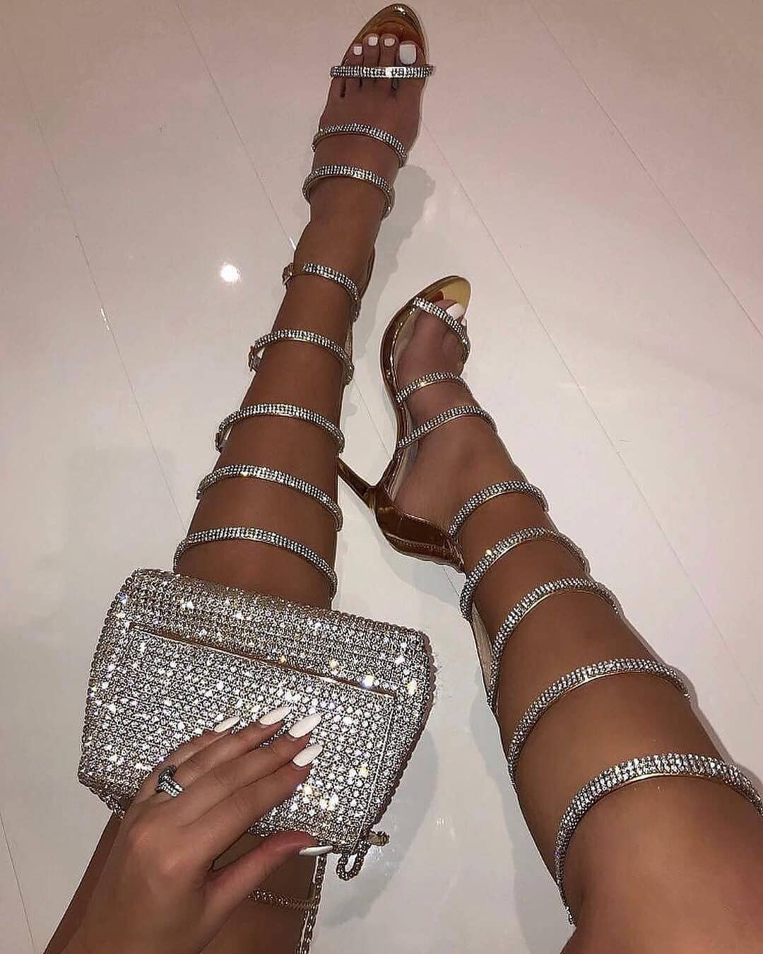Silver Strap High Heels Sandals.