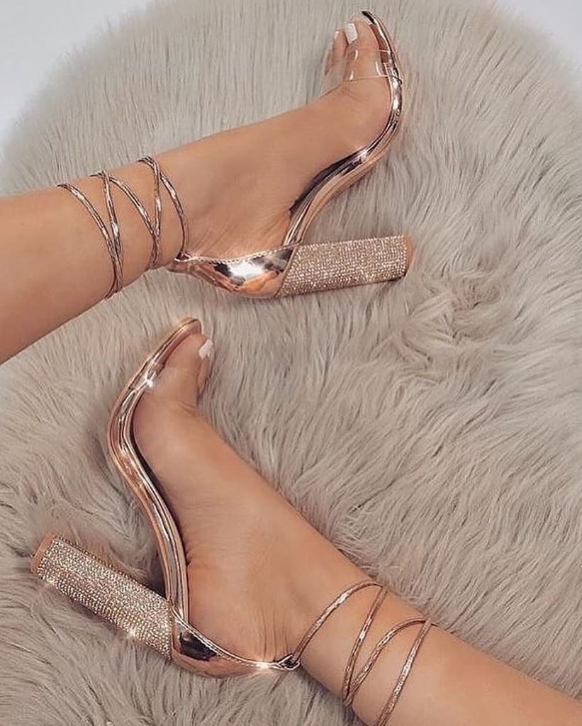Rose Gold and Transparent Strap Open Toe Sandals.
