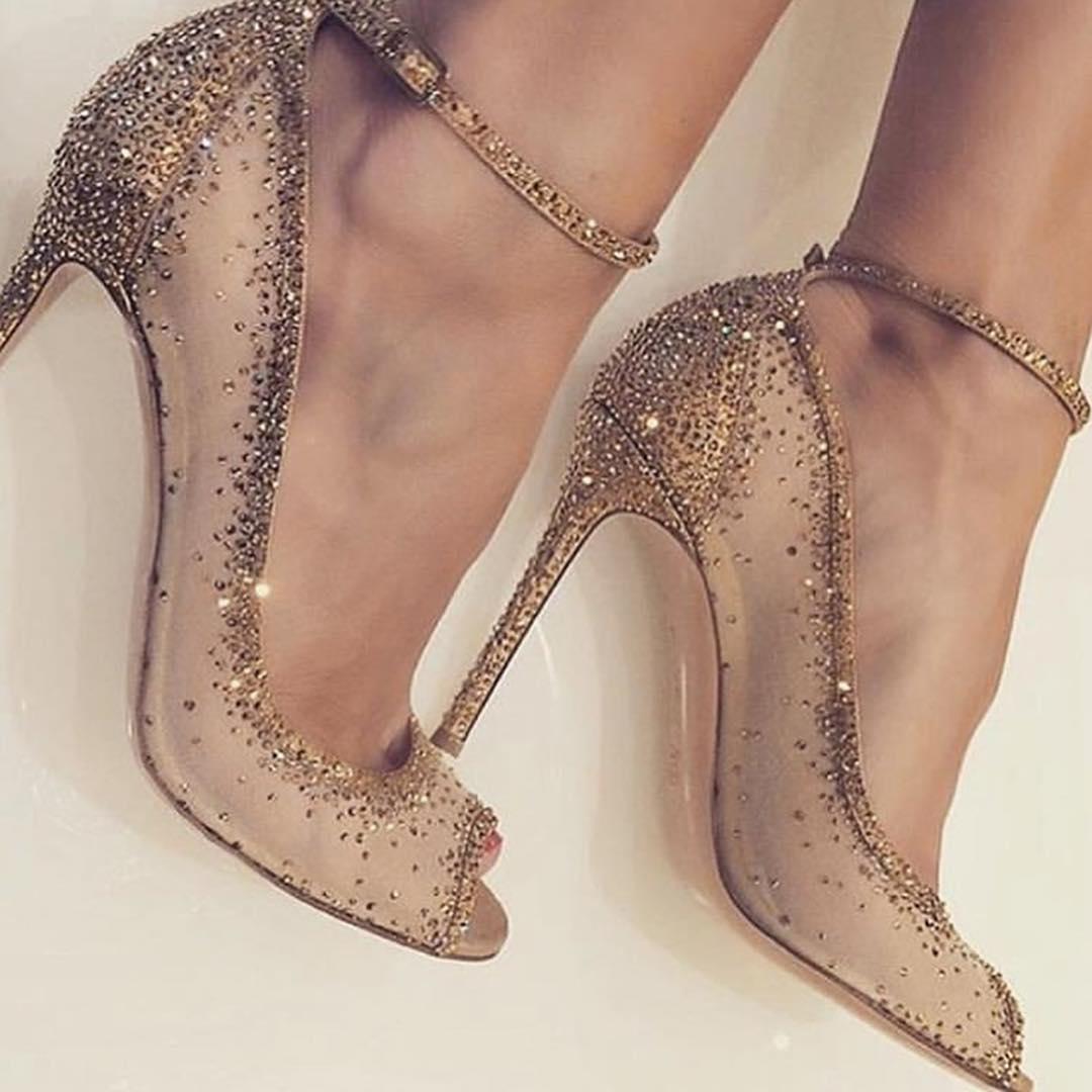 Copper Rhinestone High Heels Strap Peep Toe Sandals.