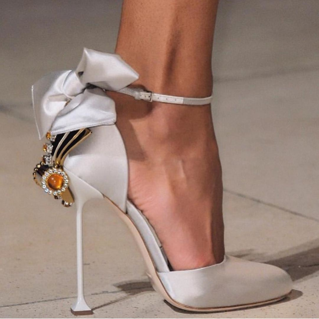 Satin Bridal High Heels with Rhinestones and Crystals.