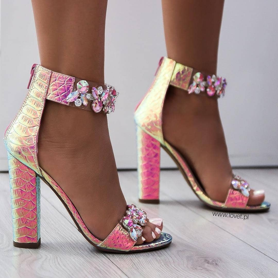Pink T-Strap Sandals with Rhinestones.