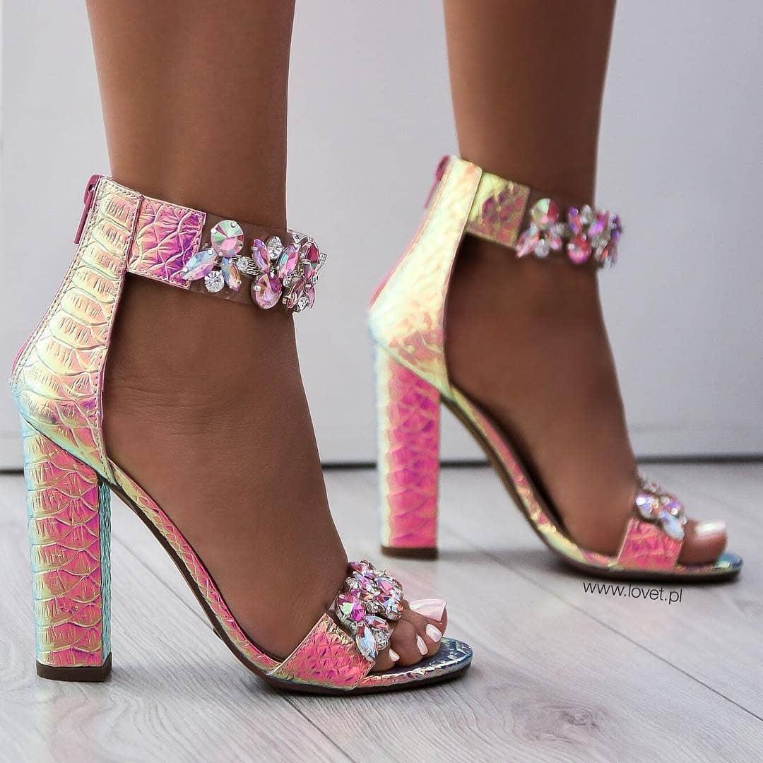 Pink T-Strap Sandals with Rhinestones.