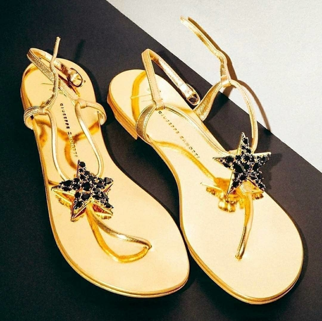 Gold Strap Sandals with Star & Black Rhinestones.