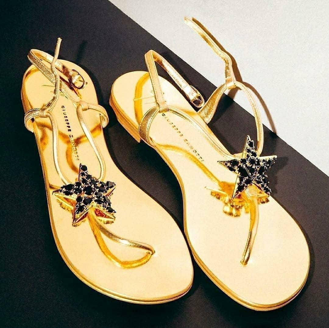 Gold Strap Sandals with Star & Black Rhinestones.
