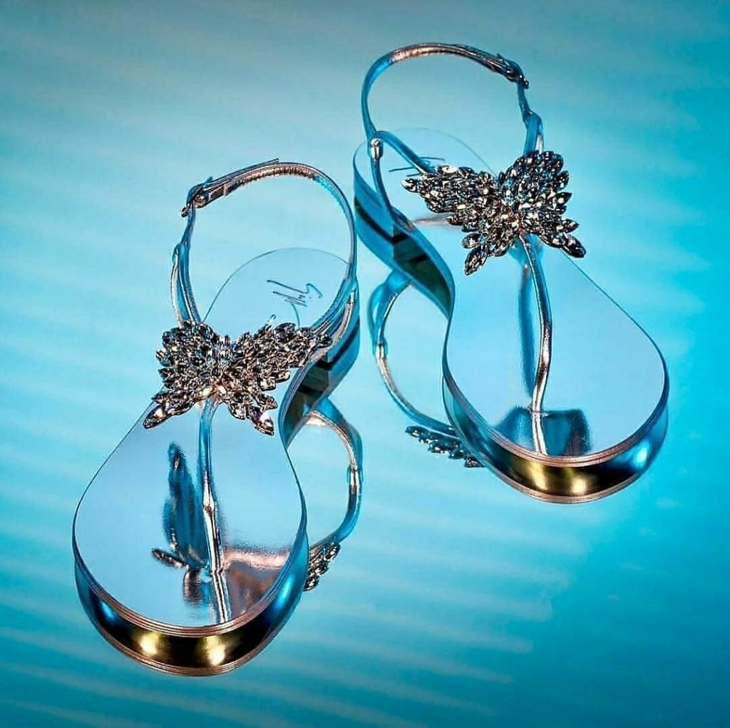 Mirror Flat Sandals with Rhinestones.