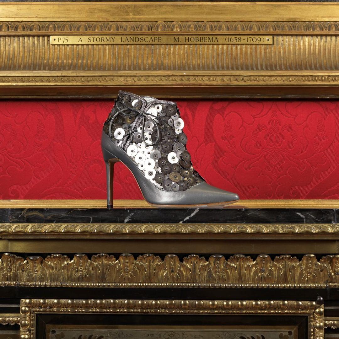 Dark Grey Sequin Pointed Toe Tie Up Boots.