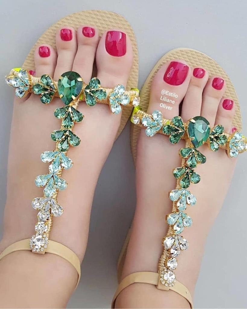 Brown Strap Beach Wear Sandals with Green Rhinestones.