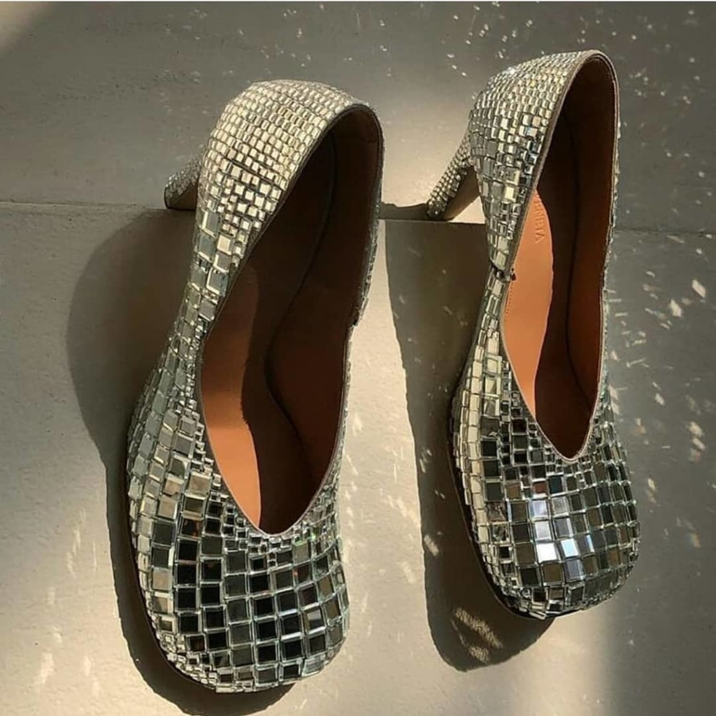 Bling Shoes for Evening in Mirror Crystals.
