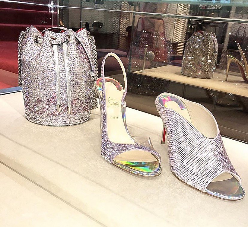Silver Rhinestone Designer Peep Toe Heels Slipper.