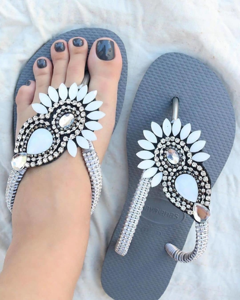 Grey Beach Wear Slippers with Rhinestones.