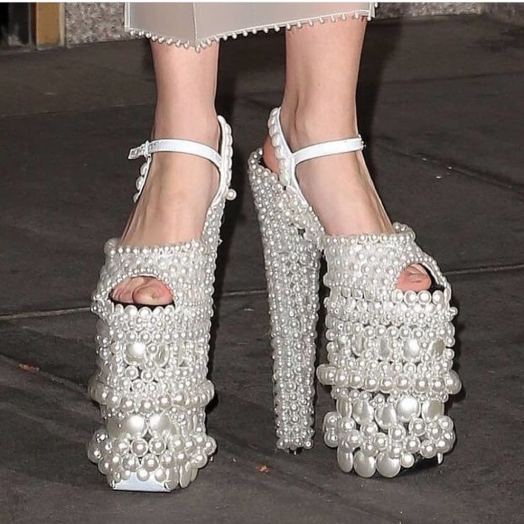 White Pearls High Heels Peep Toe Sandals.
