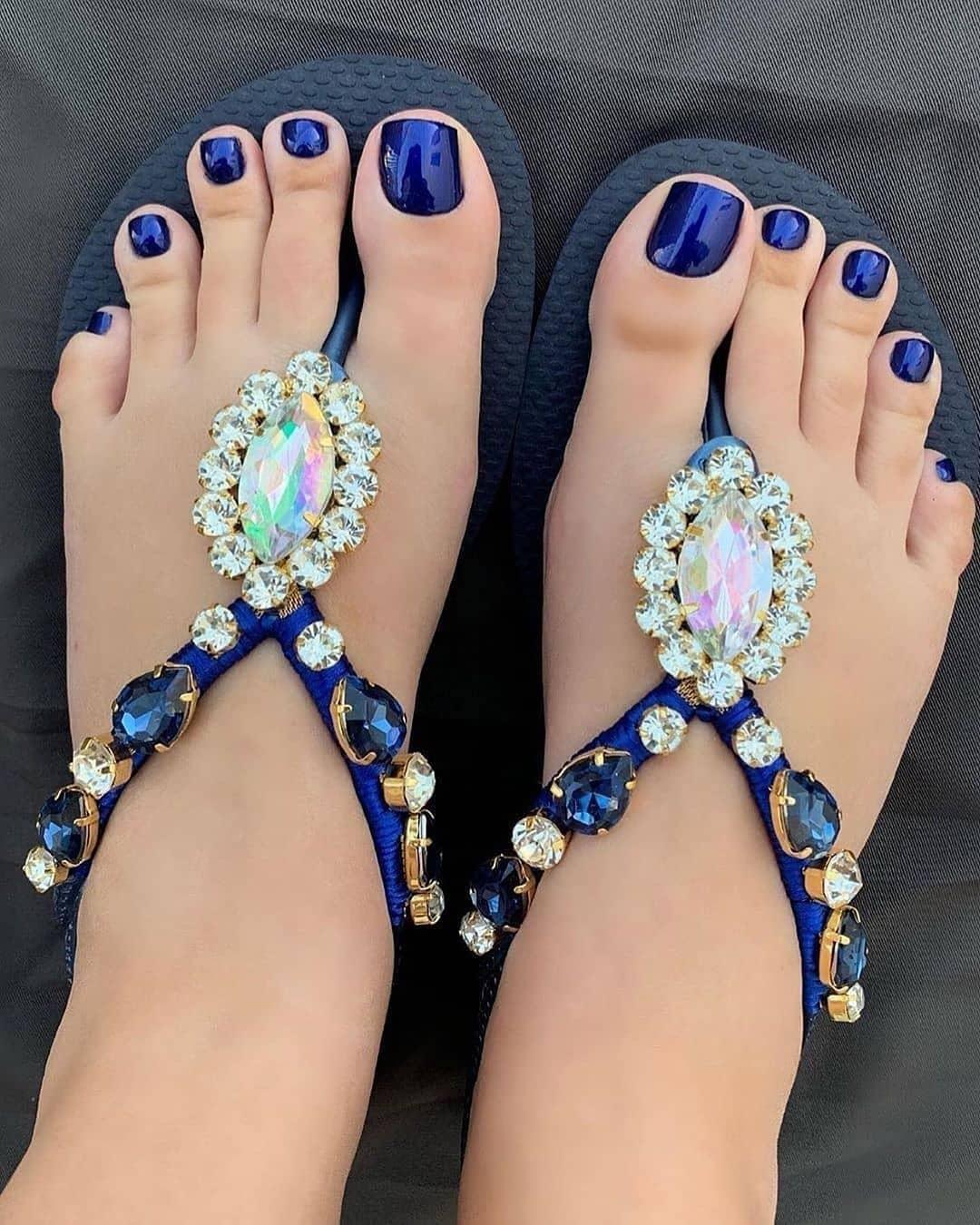 Dark Blue Beach Wear Thongs with Crystals.