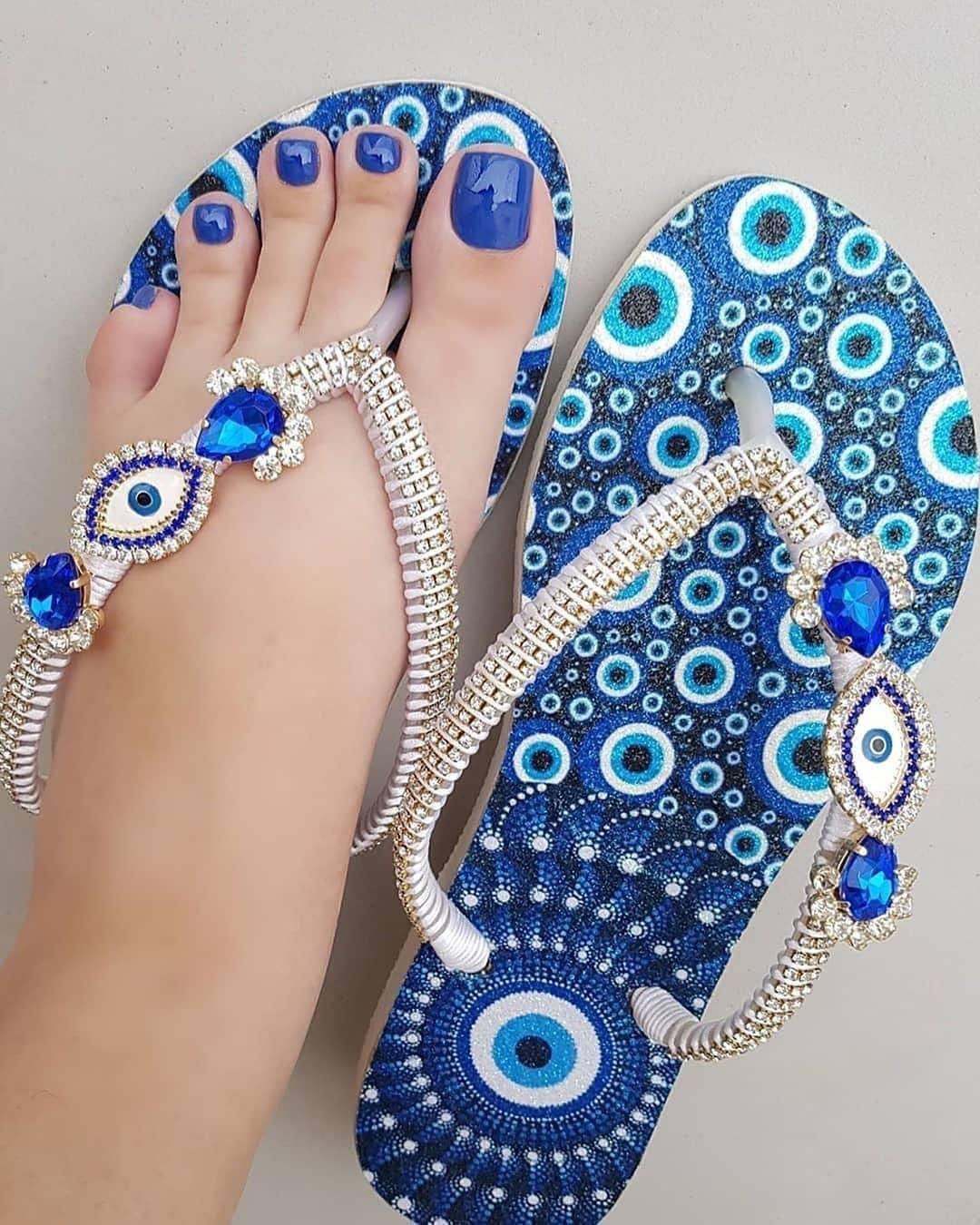 Blue Beach Wear Thongs with Rhinestones.