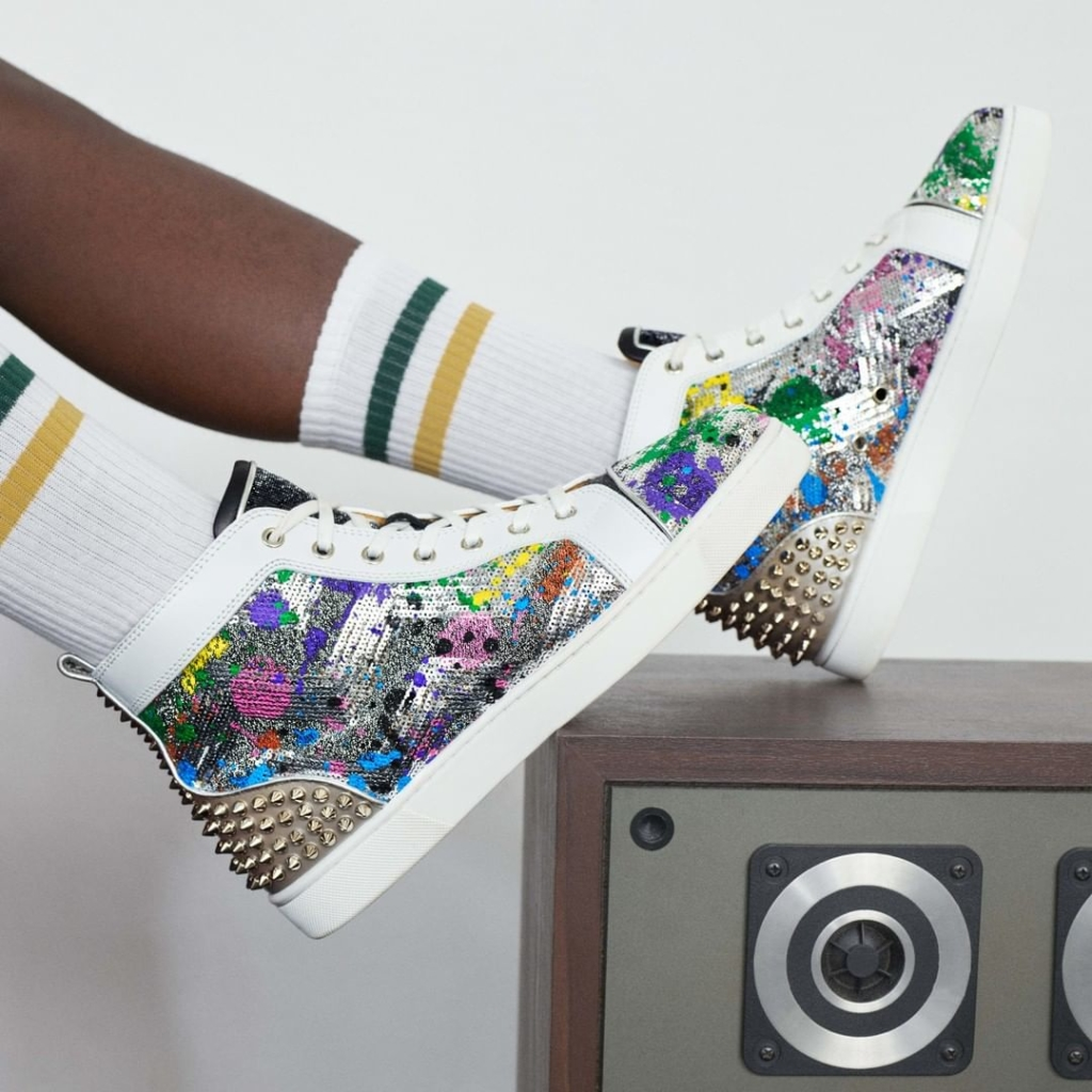 Women's Shoes for Walking. Multi-Color High Ankle Fit Sneaker with Sequins and Studs.