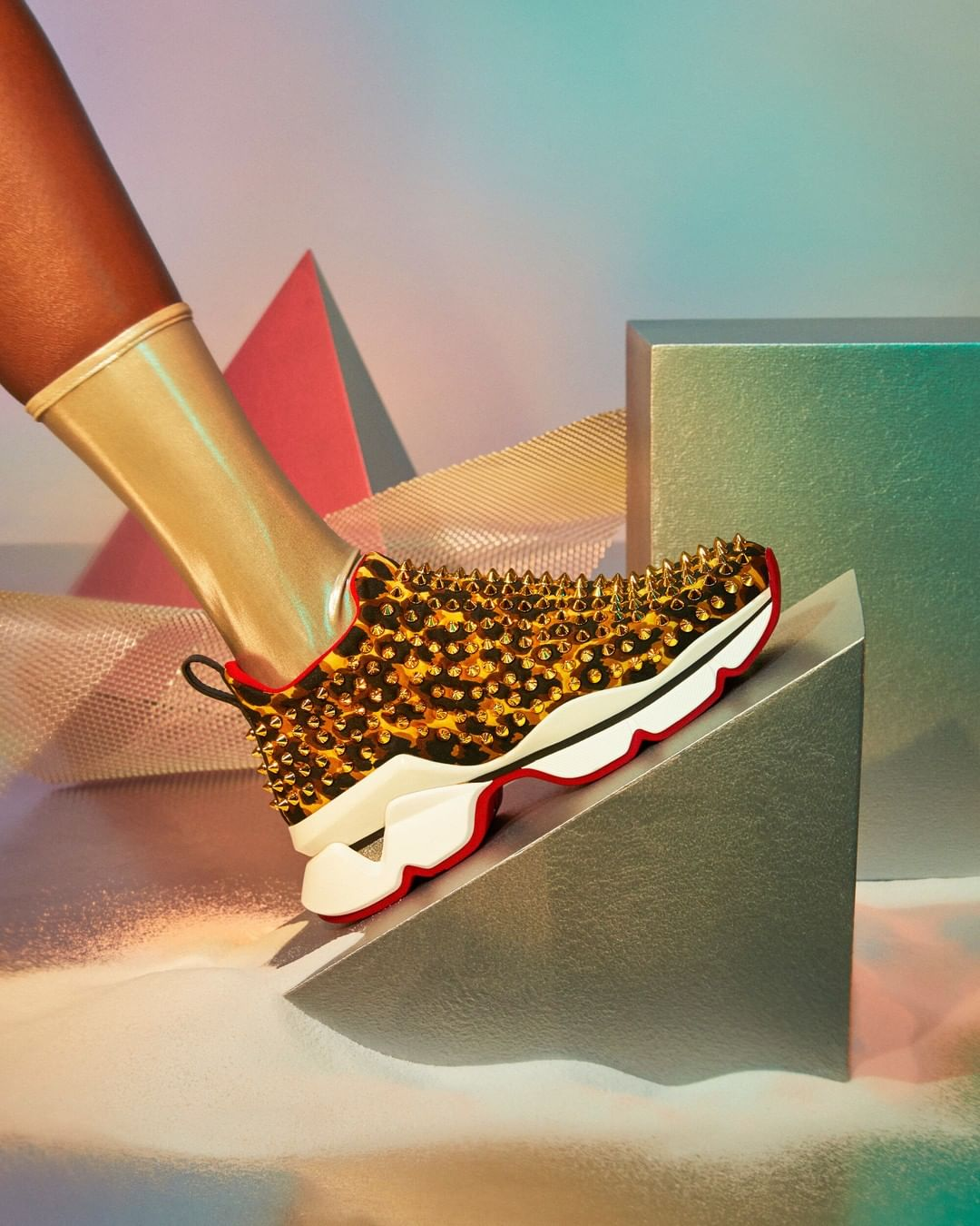 Bling Shoes for Running in Black & Yellow with Gold Studs.