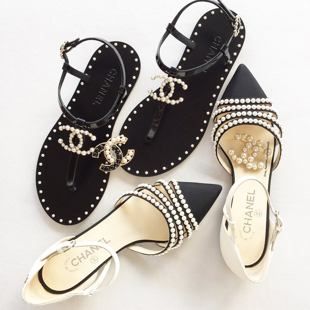 Black Chanel Sandals with White Pearls.