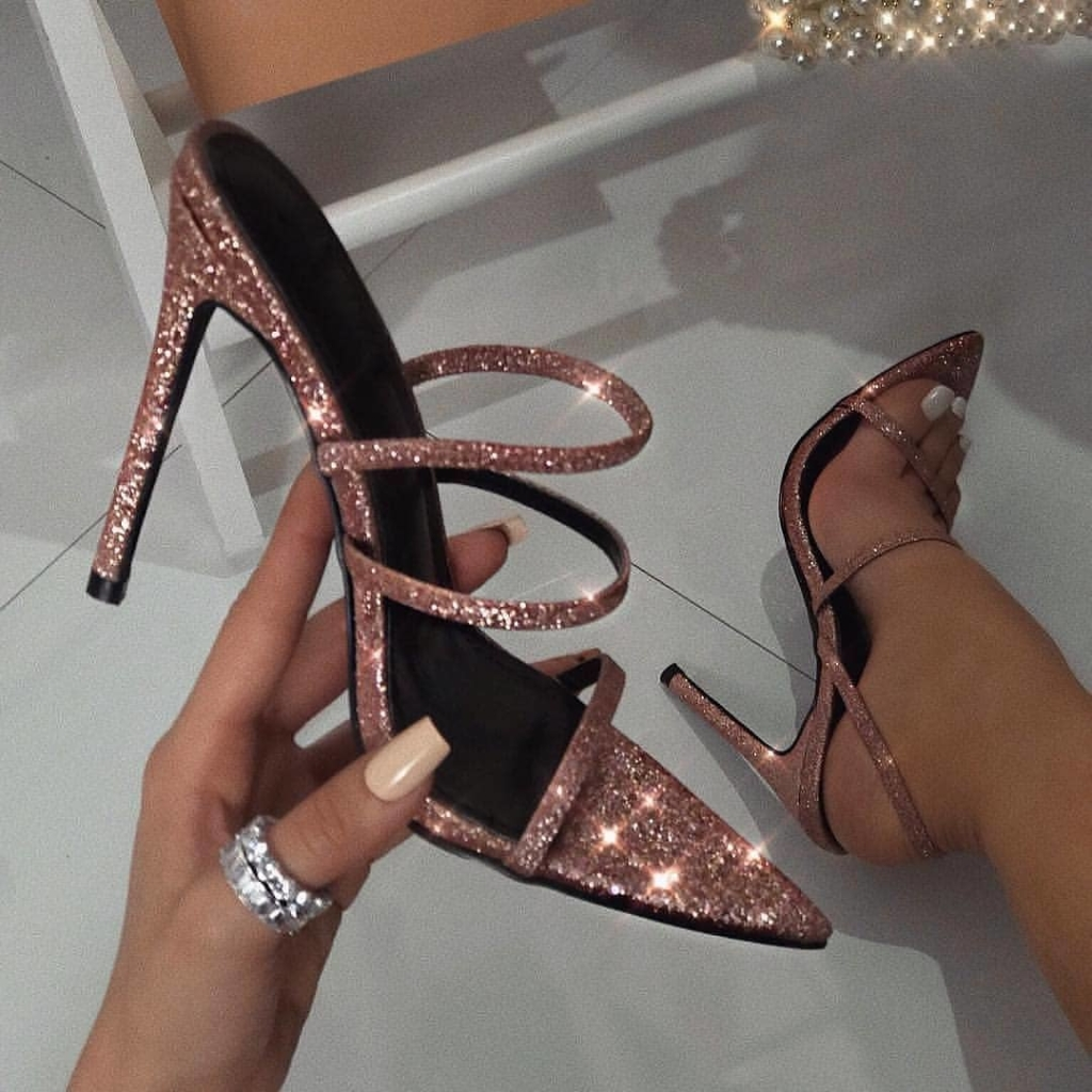 Rose Gold High Heels Pointed Toe Slip-Ons.