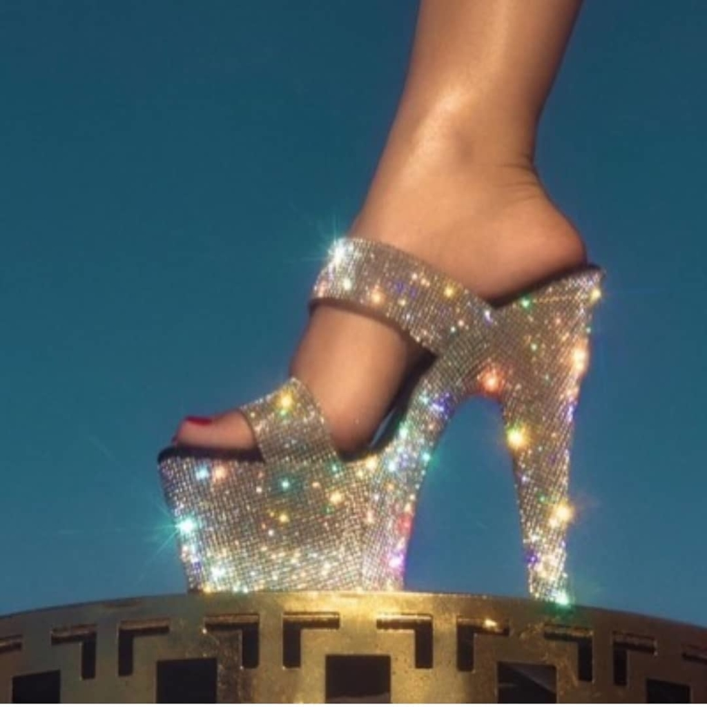 Multi-Colour Rhinestones High Heels Slippers.