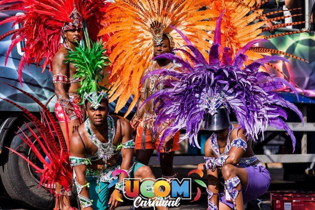 Colourful Men's Carnival Costumes with Feather Head Peices and Rhinestones Accessories.
