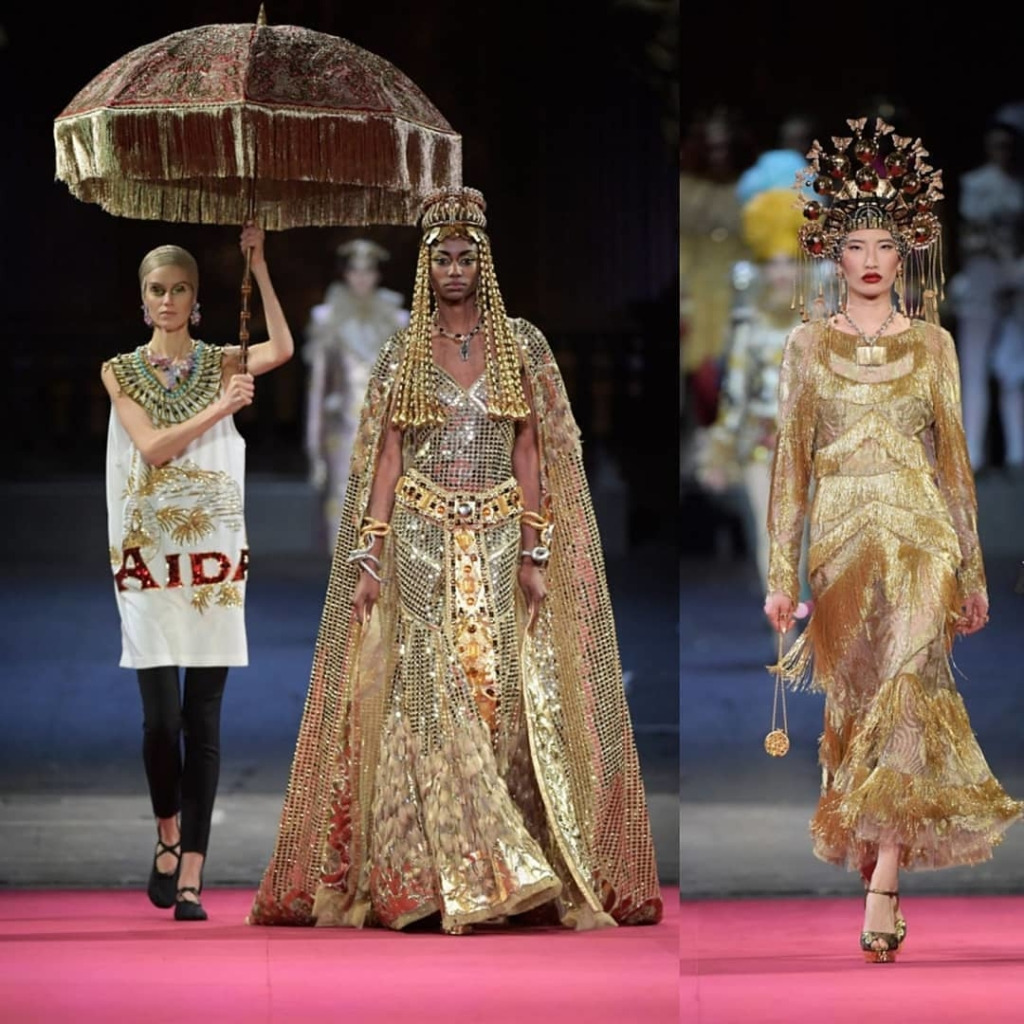 Exotic Gold Sequin and Bead Costumes. Egyptian and Oriental Themed Long Gowns