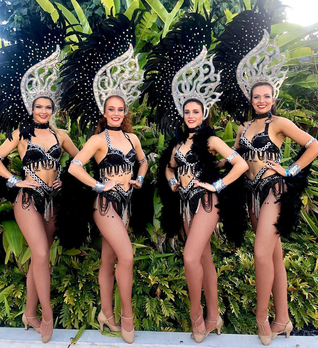 Black Two Piece Bikini Suits with Head Dresses
