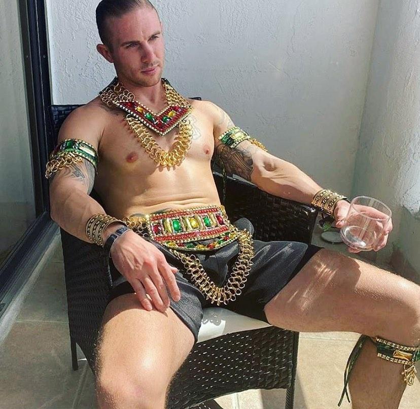 Men's Carnival Costume Colourful Rhinestone Belt, Collar and Accessories.