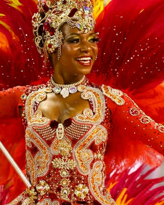 Red Sequin, Beads and Rhinestones Carnival Costume with Long Sleeves.