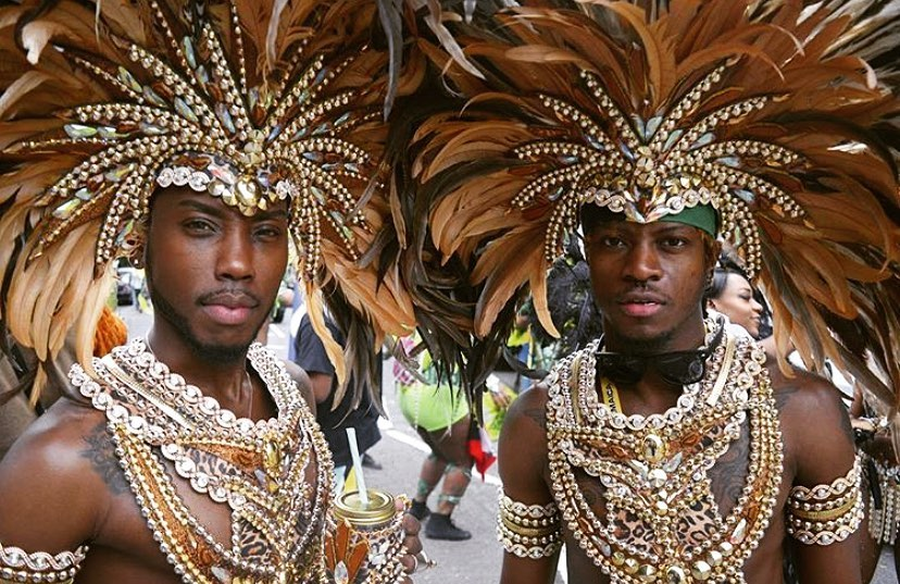 Samba Men's Gold Chestpiece with Rhinestones and Feather Headdress.
