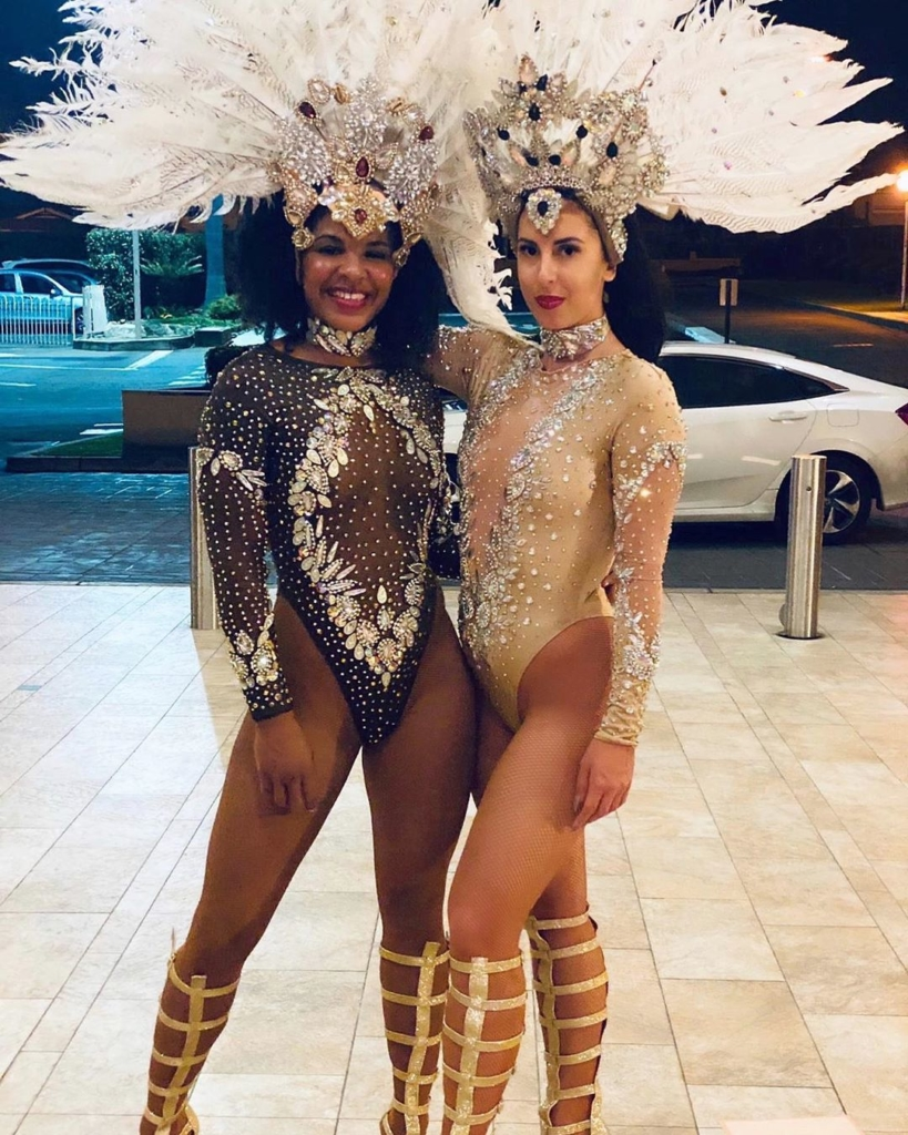 See-Through Long Sleeves Leotard with Rhinestones and Feathers.