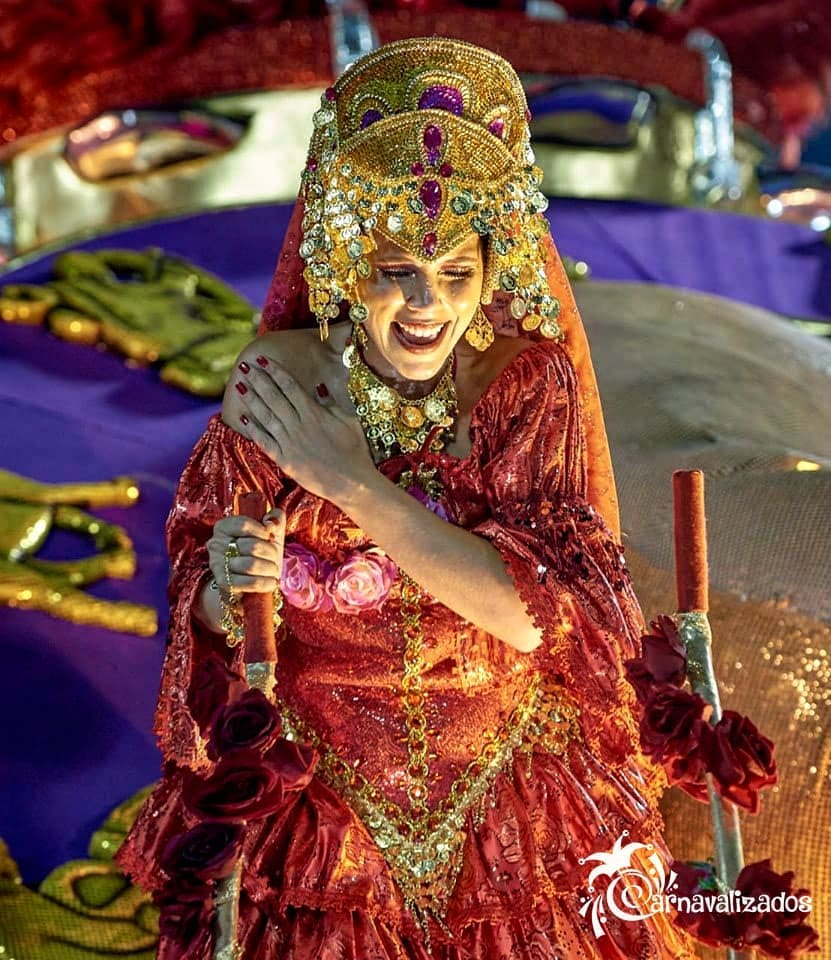 Dark Red and Gold Sequin Long Carnival Gown with Head-Dress.