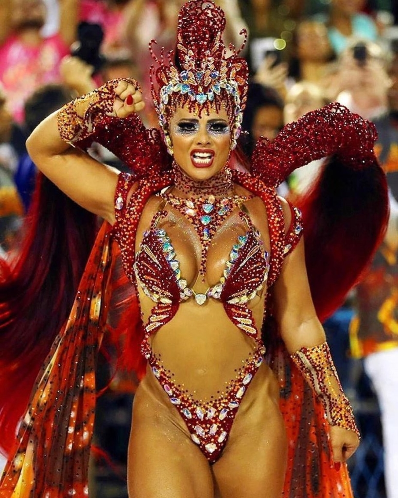 Dark Wine Red Sequins and Crystal Carnival Wear