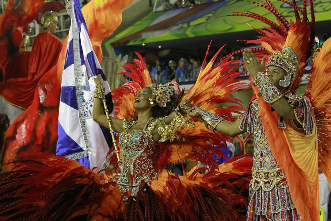 Orange, Red and Yellow Sequin and Bead Carnival Costumes