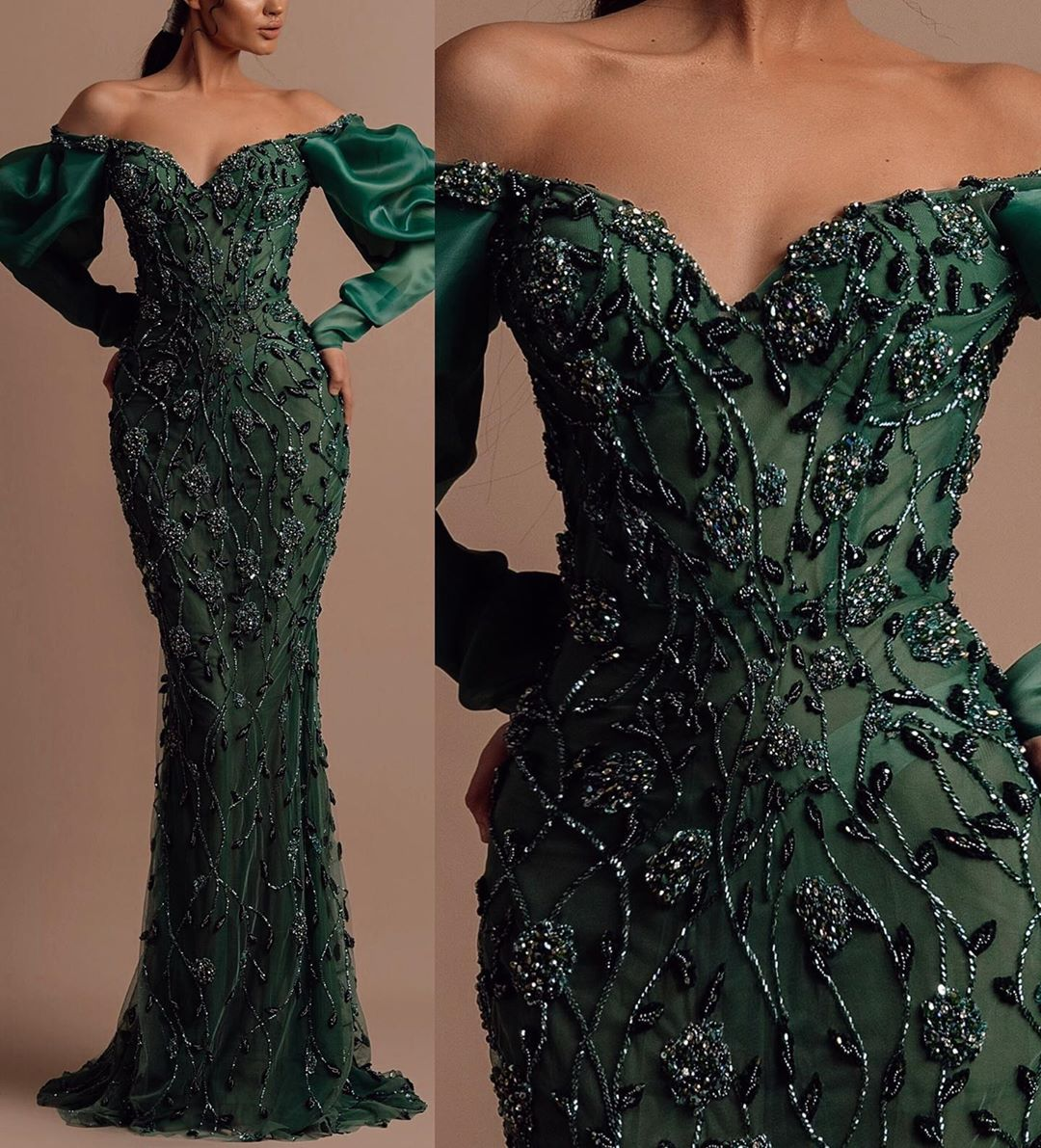 Dark Green Off The Shoulder Long Sleeves Gown with Beads.