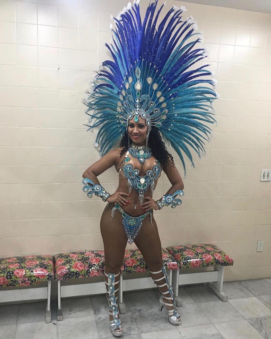 Blue Rhinestones Samba Bikini with Feather Headdress