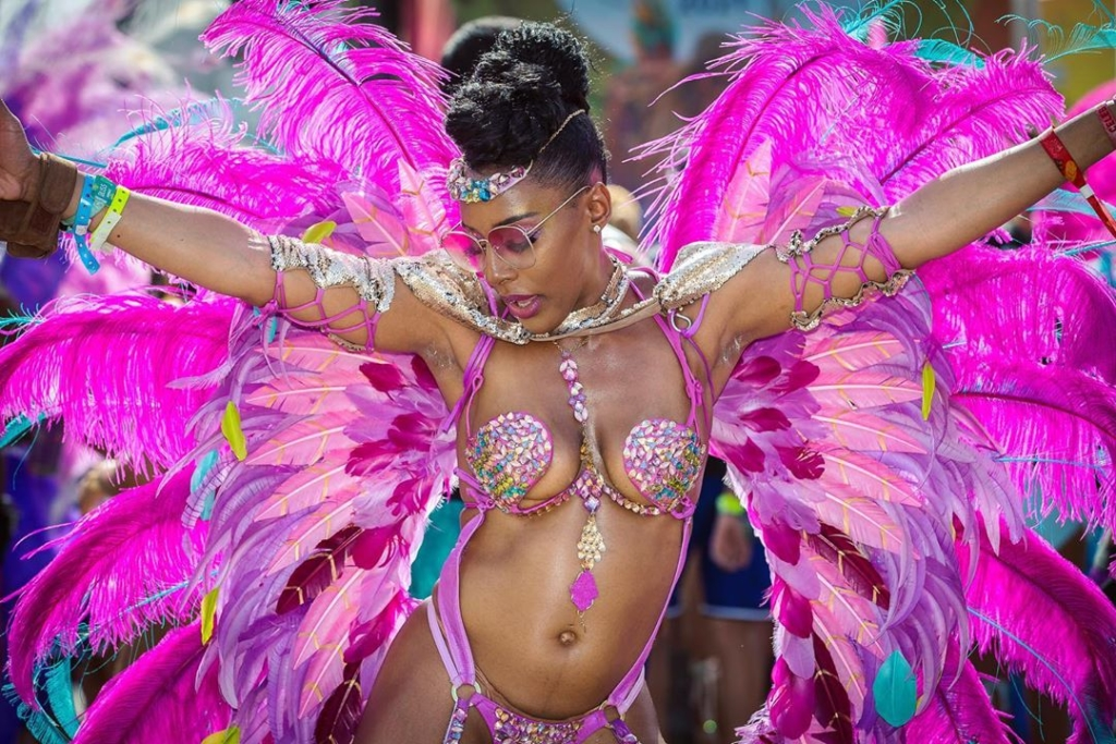 Hot Pink Feather and Rhinestone Carnival Costumes for Women.